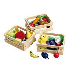 Kaufladenzubehör Holzkorb Obst und Gemüse