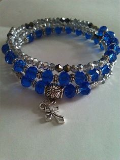Beaded Memory Wire Bracelet, Unique, Handmade, Swarovski, Cross Charm