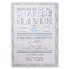 Lives Shared - Letterpress Wedding Invitation at Invitations By Dawn