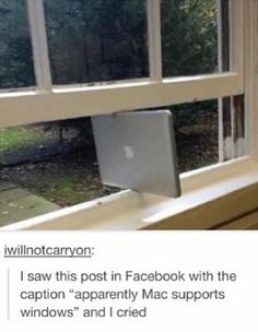 Funny pictures about Macs now supporting Windows. Oh, and cool pics about Macs now supporting Windows. Also, Macs now supporting Windows. Bad Puns, Funny Puns, Funny Humor, Hilarious Jokes, Freaking Hilarious, Wtf Funny, Funny Facts, Haha, Have A Laugh
