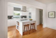 White Kitchen Cabinets with Grey Backsplash