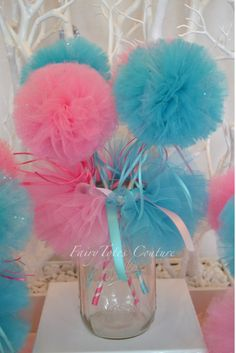 Mason Jar Tutu and Tulle Wand Centerpiece - Pom Pom Wands - Mason Jar Tutu - Gender Reveal Centerpiece - Aqua & Pink Party for at FairyTotes Couture on Etsy Gender Reveal Party Decorations, Baby Gender Reveal Party, Gender Party, Pink Mason Jars, Mermaid Party Favors, Party Table Centerpieces, Tulle Poms, Shower Bebe, Baby Girl Shower Themes