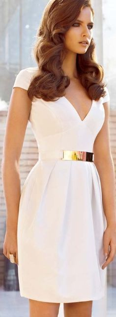 classy and elegant white dress, also love the long flowing waves!! :: cocktail dresses:: vintage inspired clothing:: fashion