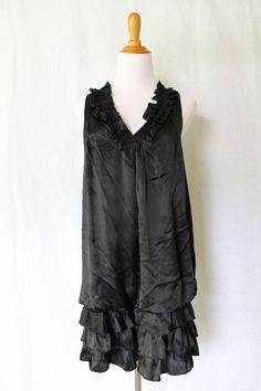 ANTHROPOLOGIE Trinity Sleeveless Black Silk Ruffle Dress Cocktail Dress S NEW #Anthropologie #Shift #Cocktail