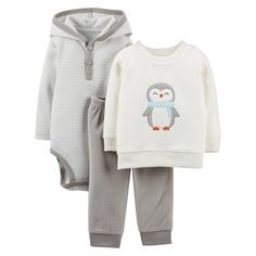 Just One You™Made by Carter's® Newborn Boys' Penguin 3 Piece Set - Ivory/Grey