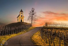 Chapel by the road at dawn (Slovenia) by Peter Zajfrid E