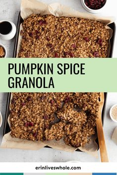 This fall, stock your pantry with Healthy Pumpkin Spice Granola. Made with maple syrup, rolled oats, pecans, and dried cranberries, it combines all of the flavors of the season into a rich, crunchy, gluten-free treat perfect for topping your favorite dishes. Pumpkin Granola, Pumpkin Pecan Pie, Pumpkin Spice, Dairy Free Recipes Easy, Gluten Free Treats, Vegan Gluten Free, Vegan Vegetarian, Breakfast Bars, Breakfast Cookies