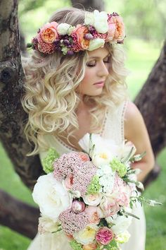 boho chic bridal look. The flower crown would be pretty for the beach.
