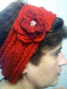 Hand knitted headband with crocheted flower / by CristinaMyCrochet, $17.00