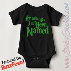 ORIGINAL He Who Has Just Been Named Newborn Baby Outfit, Seen BuzzFeed, Gender Reveal, Pregnancy Announcement, Personalized Baby Shower Gift by BrileyStudios on Etsy