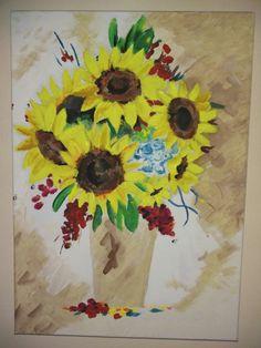 vaso di fiori -tecnica mista su tela