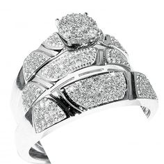 0.5ct Diamond His And Her Trio Wedding Rings Set 10K White Gold Mens 5.5mm