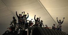 Making history: The Nitro Circus riders celebrate their world record (PA) Nitro Circus, Nail Biting, London Bus, World Records, Daredevil, Stunts, Wheels, History, Big