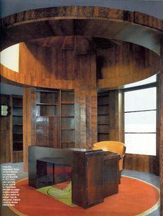 architect Pierre #Chareau (1883-1950), round office (Bureau-bibliothèque de l'Ambassade française), encloses with sliding screens, ca. 1925 Art Deco