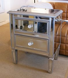 antique style venetian mirrored 2 drawer lamp table buy from the french furniture specialist