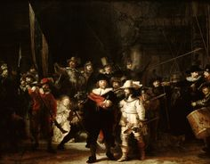 Completed in 1642, at the peak of the Dutch Golden Age, The Night Watch is one of the most famous paintings by Dutch painter Rembrandt van Rijn. It depicts a city guard moving out, led by Captain Frans Banning Cocq and his lieutenant, Willem van Ruytenburch. The painting is on display in Amsterdam.
