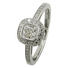 EWA 18ct White Gold 0.65ct Cushion Cut Diamond Surround Engagement Ring