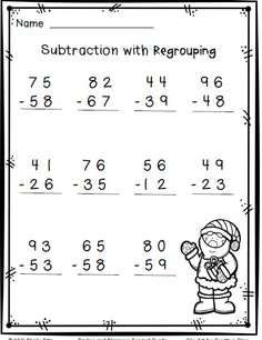 Christmas math--subtraction with regrouping-FREE Subtraction With Regrouping Worksheets, Math Addition Worksheets, Free Printable Math Worksheets, 2nd Grade Math Worksheets, School Worksheets, Second Grade Math, Grade 2, Christmas Math, 2nd Grade Classroom