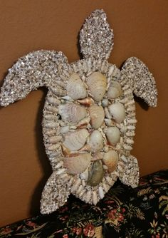 Gorgeous 3 foot Shell Encrusted Sea Turtle by LucyDesignsonline, #shell mosaic