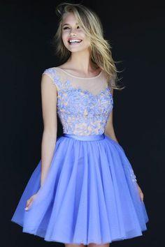 2015 Cute A-line/Princess Bateau Knee Length Prom/Homecoming Dresses with Applique
