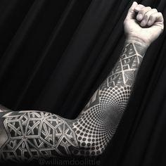Thanks Rick! One more to go on this full sleeve project. #studiocitytattoo #tattoo #geometric #geometry #dotwork #stipple #stippling #mandala #losangeles #studiocity #noho #pointillism #dotworktattoo #mandalatattoo #geometrictattoo #blackwork...