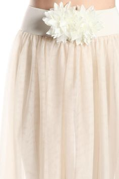 Simply a beautiful unique cream sheer skirt.Flower On belt. Wear over a dress, leggings, shorts or even jeans!   Cream Sheer Skirt by A'reve. Clothing - Skirts Austin, Texas