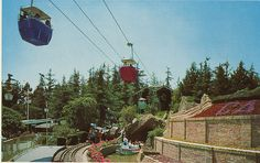 Disneyland Skyway Ride (1956-1994) approaching the Swiss chalet station in Fantasyland.