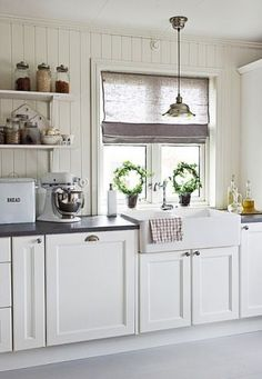 Like the plank walls and the cabinetry, but not the white. Country Kitchen, New Kitchen, Kitchen Decor, Country Sink, Kitchen White, Kitchen Sink, Country Living, Kitchen Cabinets, Cottage Kitchens