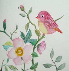 Pink Bird / Rose / Flower / Floral / Wall Art / Print from Original Painting/ Watercolor / Room Decor on Etsy, $9.99