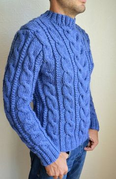 Hand knitted men's sweater Aran Knitting Patterns, Knitting Designs, Hand Knitting, Cozy Sweaters, Cable Knit Sweaters, Casual Wear For Men, Look, Men Sweater, Blue Tones
