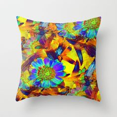 Neon Flower Flames Throw Pillow by Rokin Art by RokinRonda - $20.00 @Society6