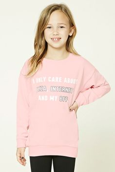 """Forever 21 Girls - A knit sweatshirt featuring a """"I Only Care About Pizza, Internet, And My BFF"""" graphic on the front, ribbed trim, a round neckline, and long sleeves."""