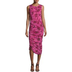 Fuzzi Sleeveless Ruched Rose-Print Dress ($690) ❤ liked on Polyvore featuring dresses, purple, shirred dress, ruched sheath dress, gathered dress, drawstring dress and purple sheath dress
