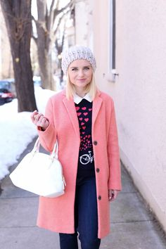 Valentine's Day Hearts - Styling A Pink Coat - Poor Little It Girl Love Like Winter, Winter Looks, Winter Style, Holiday Outfits, Winter Outfits, Cool Outfits, Fashion Outfits, Winter Wear, Autumn Winter Fashion