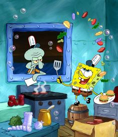 """I remember when I was a kid and the first time I saw Spongebob was on a nickelodeon sticker sheet. And I thought to myself """"Why is a block of swiss cheese making cheese burgers?..."""""""