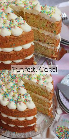 A Three Layer Vanilla Funfetti Sponge Cake with all the Colourful Rainbow Sprinkles, and a Vanilla Buttercream Frosting! Cake Receipe, Cake Filling Recipes, Cupcake Flavors, Cake Mix Recipes, Baking Recipes, Baking Ideas, Patisserie Cake, Janes Patisserie, Bakery Style Cake