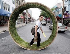 Grass wheel, walk in grass with every step. Maybe better in the park than on the high street!