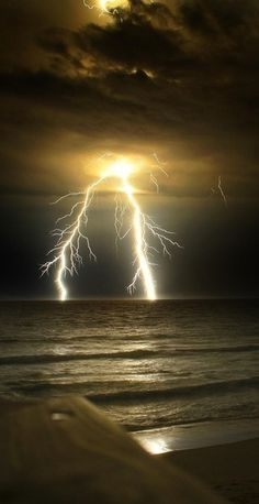 Lightning over water.