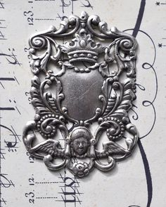 Medieval crest for scrapbooking Antique silver by CalliopesAttic, $2.50