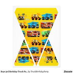 "Boys 3rd Birthday Truck Party Flag Garland Bunting 8.5"" X 11"" Flyer"