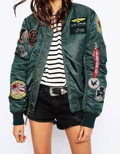 Alpha Industries | Alpha Industries Ma1 Pilot Bomber Jacket With All Over Patch Detail at ASOS