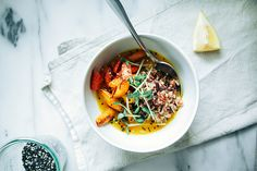roasted carrots + rice with zingy turmeric broth // the first mess
