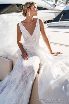 alessandra rinaudo 2017 bridal sleeveless v neck full embellishment elegant sheath wedding dress low open back chapel train (blanca) zv