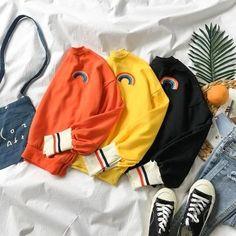 Stylish Hoodies, Comfy Hoodies, Sweatshirts, Dark Fashion, Cute Fashion, Korean Shop, Dress Up Outfits, Dresses, Rainbow Sweater