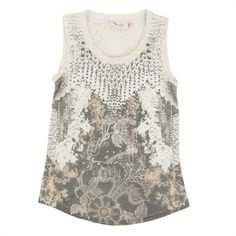 Miss Me Girls 7-16 Print and Lace Tank with Embellished Detail