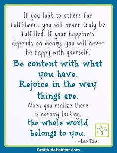 Fulfillment and happiness!