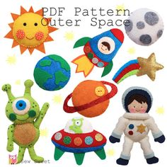 Outer Space PDF pattern astronaut rocket alien cot by sewsweetuk