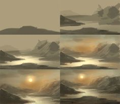 digital painting tutorial basic for water landscape - Drawing Types 2020 Digital Painting Tutorials, Digital Art Tutorial, Art Tutorials, Digital Paintings, Drawing Tutorials, Drawing Tips, Landscape Drawings, Landscape Art, Landscape Paintings