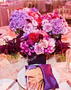 @Julianna Castillo I think Magenta and purple flowers should be the color combo along with white.