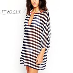 91ad8e4888 Stripped Chiffon Cover Up. Bathing Suit DressBathing Suit CoversSwimsuit  Cover UpsSwimwear ...